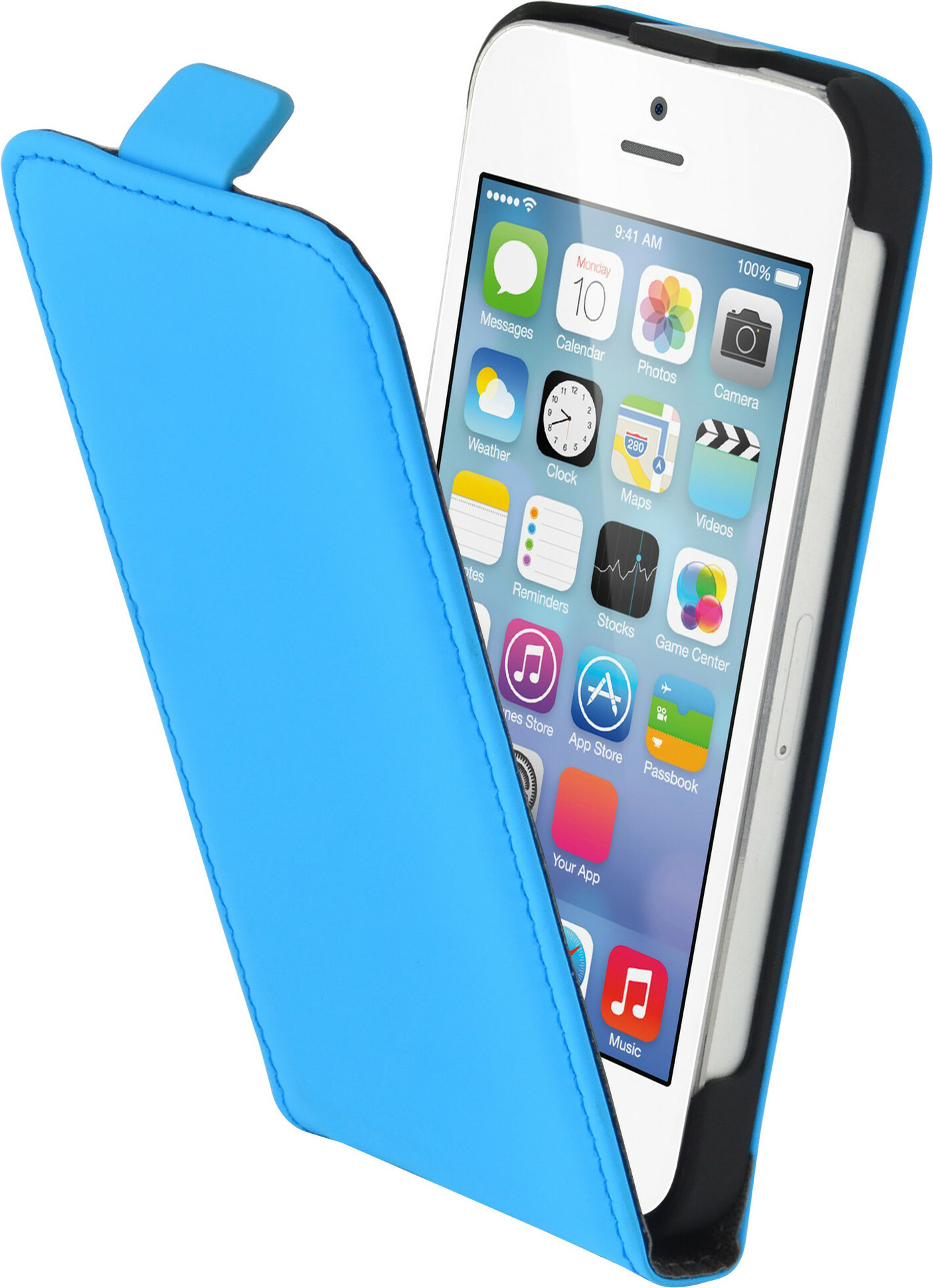 Mobiparts Premium Flip Case Apple iPhone 5/5S/SE Light Blue