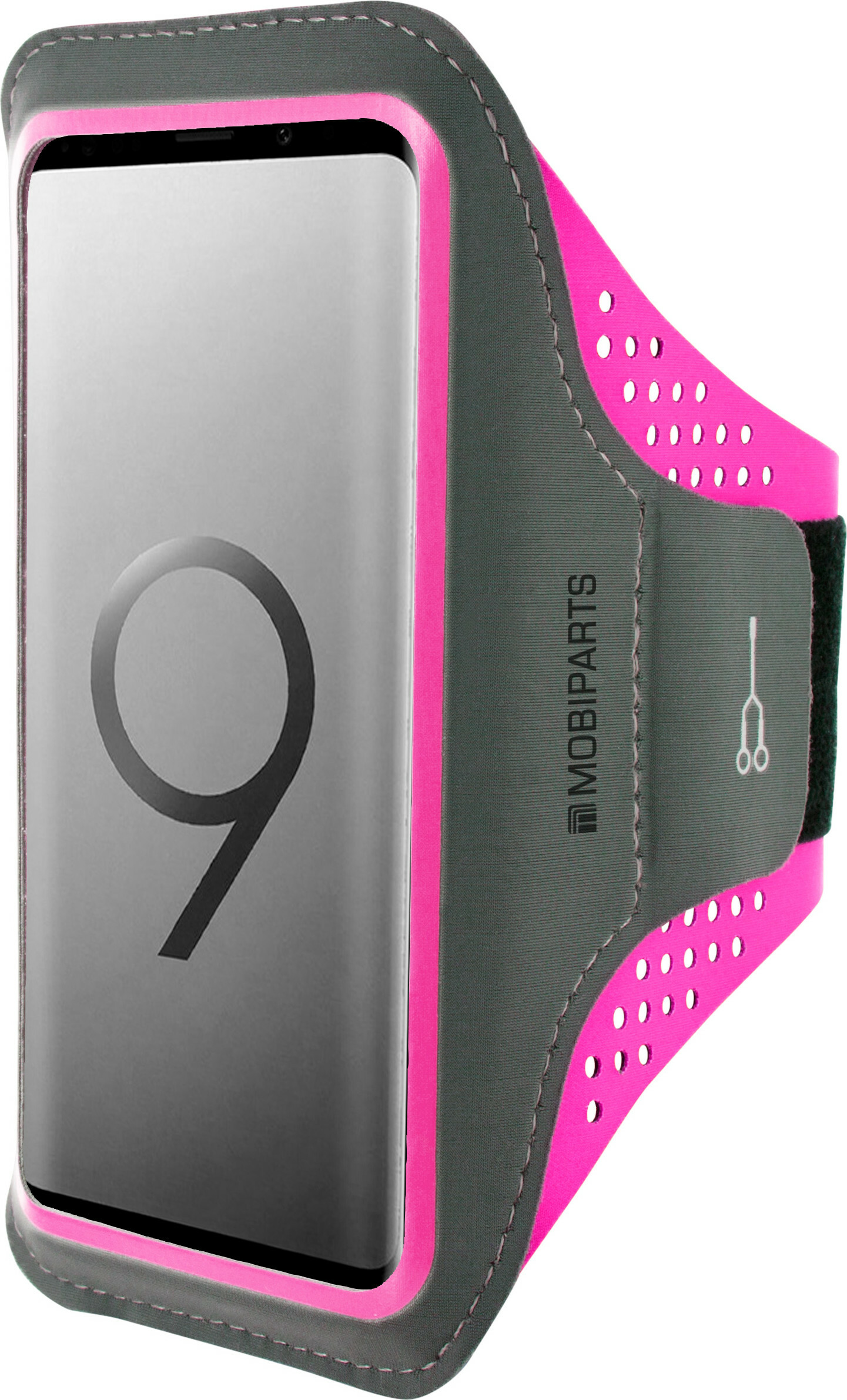 Mobiparts Comfort Fit Sport Armband Samsung Galaxy S9 Plus Neon Pink