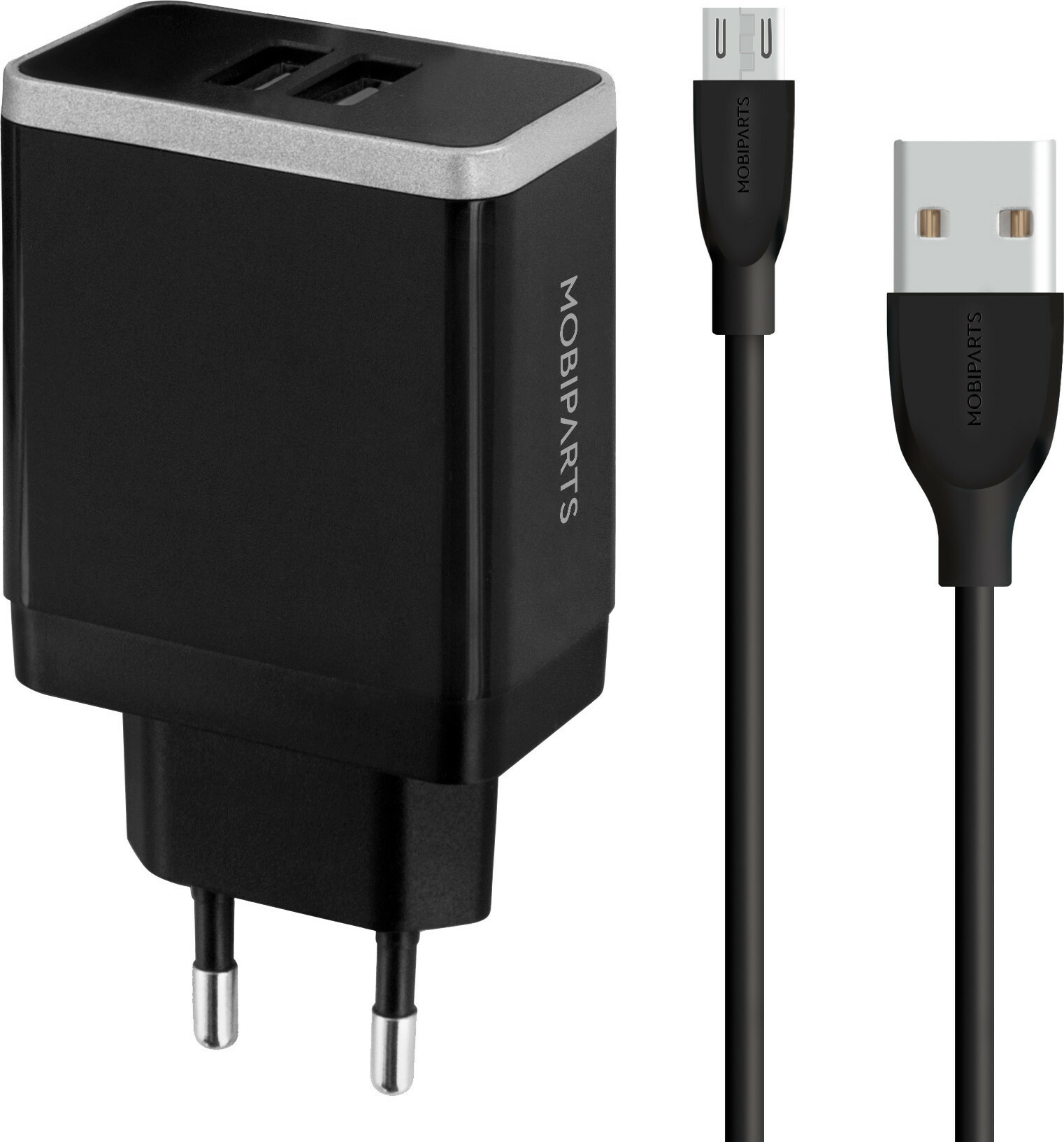Mobiparts Wall Charger Dual USB 4.8A + Micro USB Cable Black