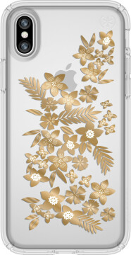 Speck Presidio Clear + Print Apple iPhone X/XS ShimmerFloral Yellow/ Clear