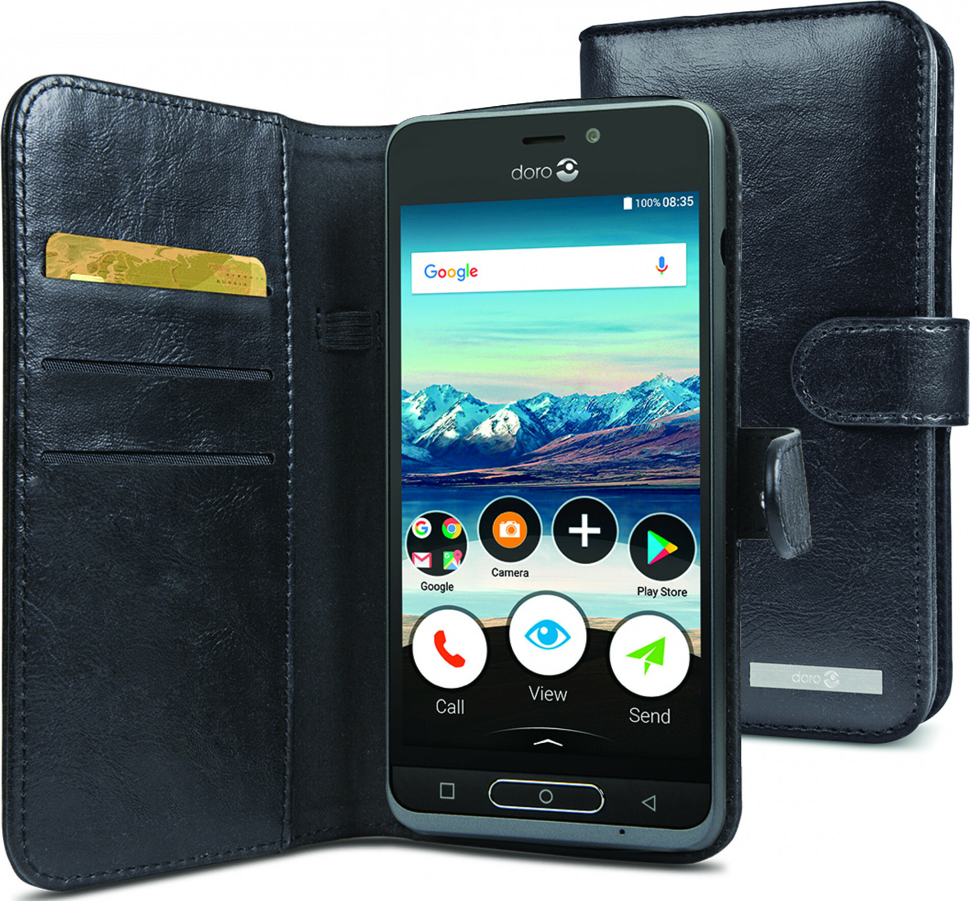 Doro 8035 Wallet Case Black