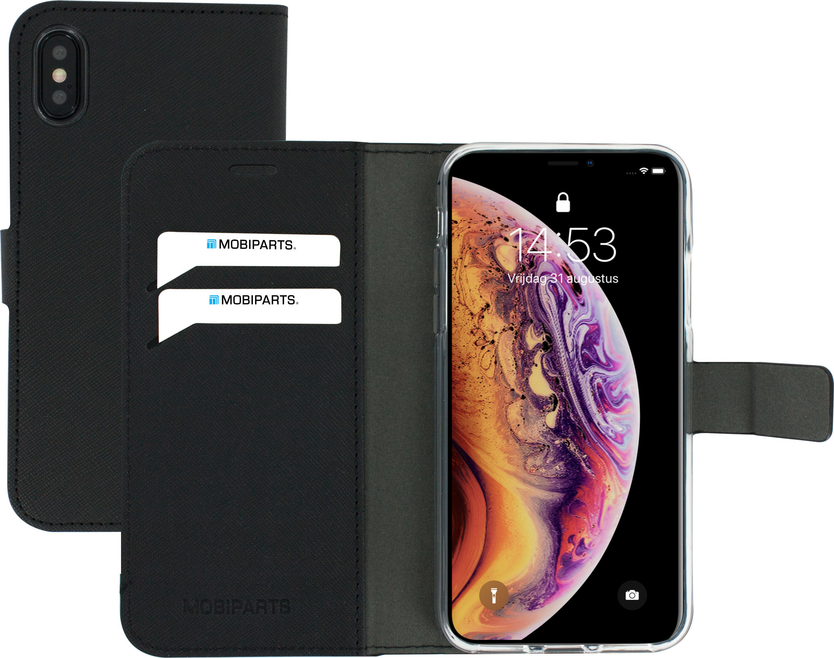 Mobiparts Saffiano Wallet Case Apple iPhone X/XS Black