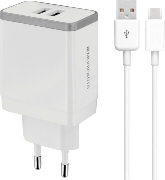 Mobiparts Wall Charger Dual USB 2.4A + USB-C Cable White