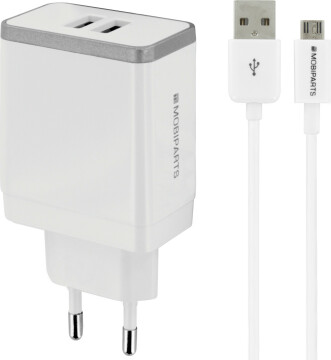 Mobiparts Wall Charger Dual USB 2.4A + Micro USB Cable White