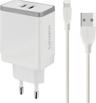 Mobiparts Wall Charger Dual USB 2.4A + Lightning Cable White