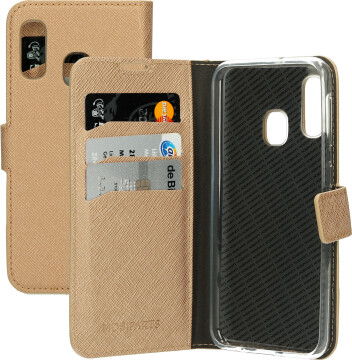 Mobiparts Saffiano Wallet Case Samsung Galaxy A20e (2019) Copper