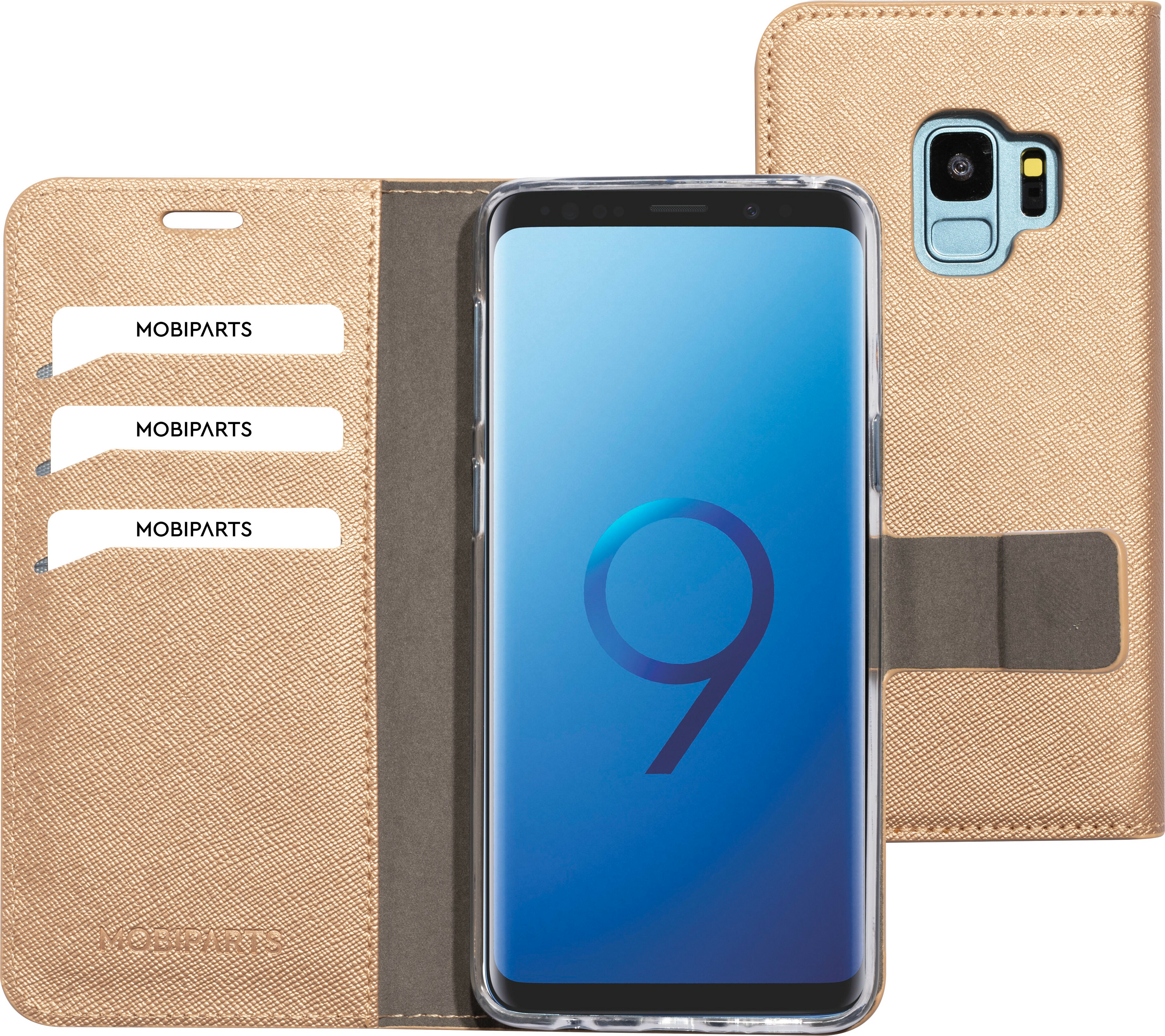 Mobiparts Saffiano Wallet Case Samsung Galaxy S9 Copper