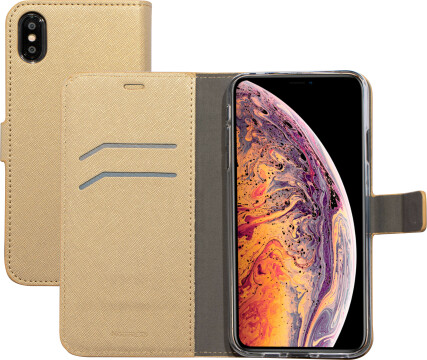 Mobiparts Saffiano Wallet Case Apple iPhone XS Max Gold