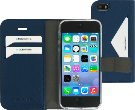 Mobiparts Classic Wallet Case Apple iPhone 5/5S/SE Blue