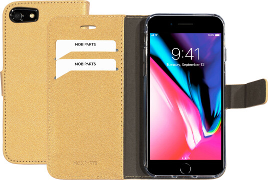 Mobiparts Saffiano Wallet Case Apple iPhone 7/8 Gold